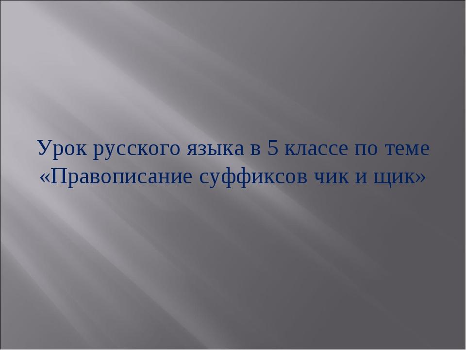 Урок русского языка в 5 классе по теме «Правописание суффиксов чик и щик»
