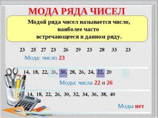 МОДА РЯДА ЧИСЕЛ Модой ряда чисел называется число, наиболее часто встречающее