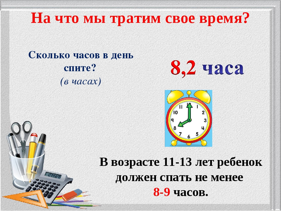 Сколько часов в день спите? (в часах) На что мы тратим свое время? В возрасте...
