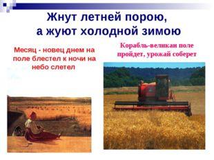 Жнут летней порою, а жуют холодной зимою Корабль-великан поле пройдет, урожай