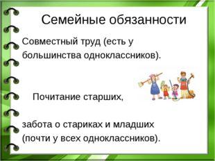 Семейные обязанности Совместный труд (есть у большинства одноклассников). Поч