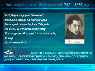 """Николай Иванович Лобачевский (1792 – 1856 гг.) Все! Перечеркнуты """"Начала"""". До"""