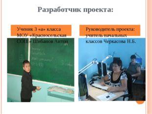 Разработчик проекта: Ученик 3 «а» класса МОУ «Красносельская СОШ» Шибанов Ант