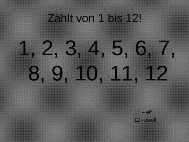 Zählt von 1 bis 12! 1, 2, 3, 4, 5, 6, 7, 8, 9, 10, 11, 12 11 – elf 12 - zwölf