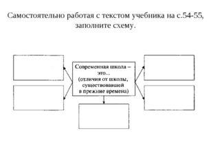 Самостоятельно работая с текстом учебника на с.54-55, заполните схему.