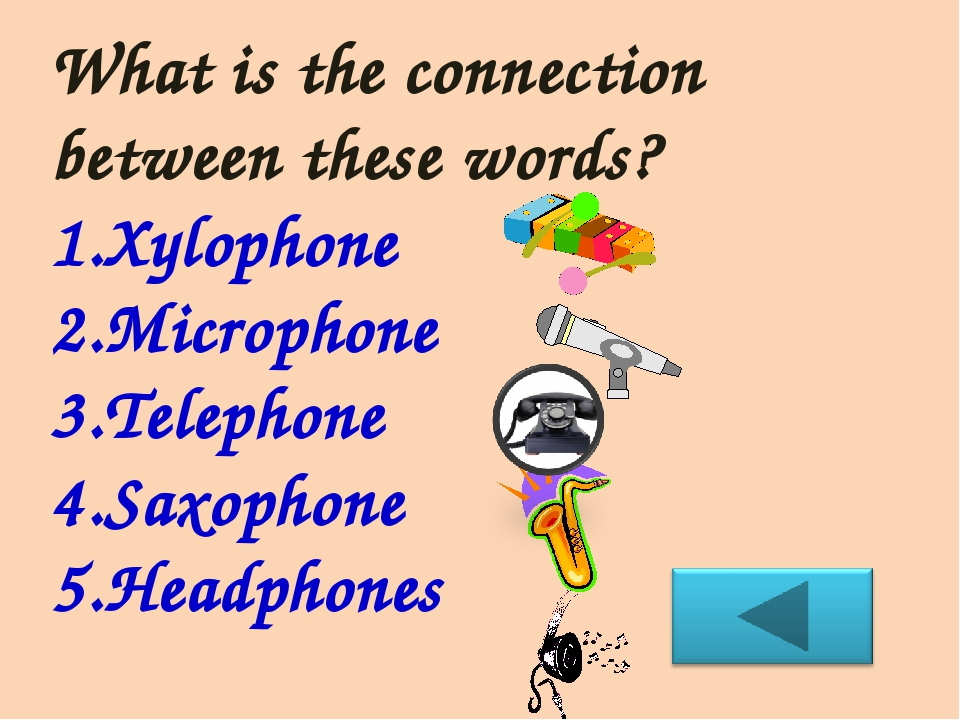 What is the connection between these words? Xylophone Microphone Telephone Sa...