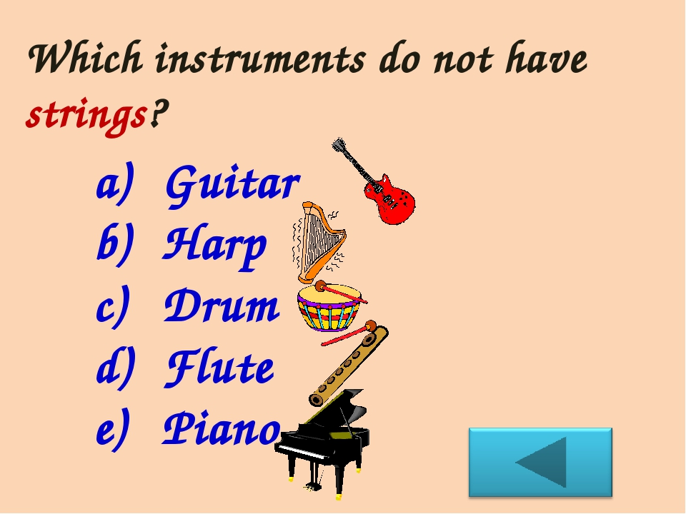 Which instruments do not have strings? Guitar Harp Drum Flute Piano