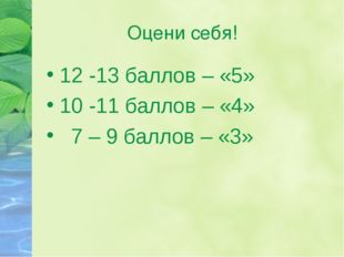 Оцени себя! 12 -13 баллов – «5» 10 -11 баллов – «4» 7 – 9 баллов – «3»