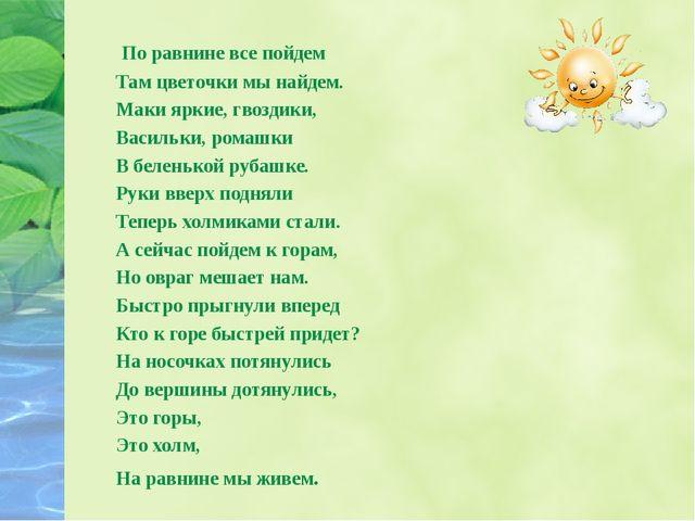 По равнине все пойдем Там цветочки мы найдем. Маки яркие, гвоздики, Васильки...