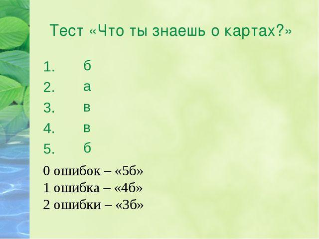 Тест «Что ты знаешь о картах?» 1. 2. 3. 4. 5. б а в в б 0 ошибок – «5б» 1 оши...