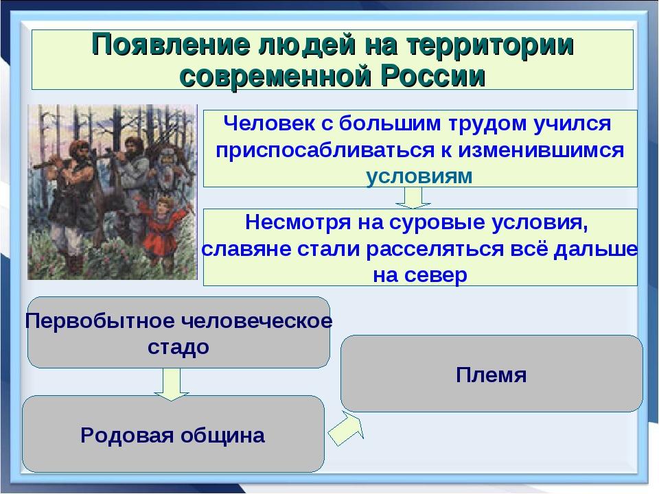 Появление людей на территории современной России Человек с большим трудом учи...