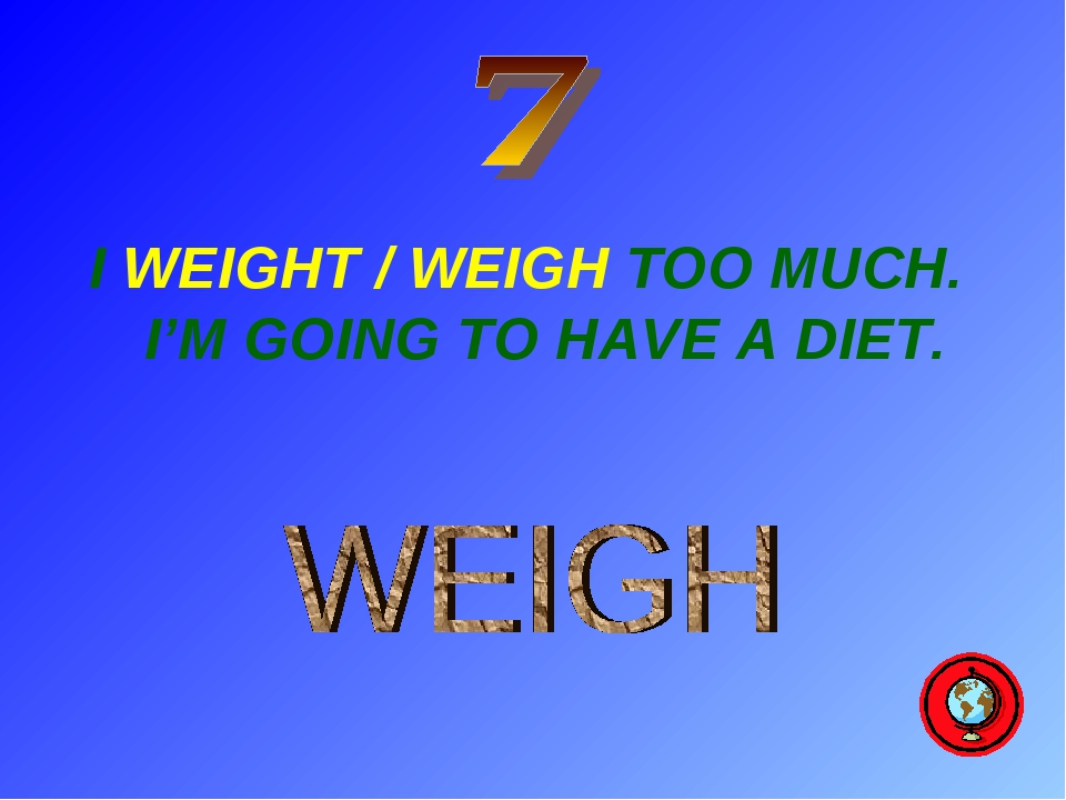 I WEIGHT / WEIGH TOO MUCH. I'M GOING TO HAVE A DIET.