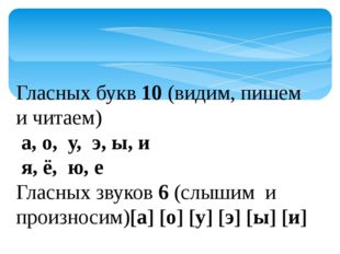 Гласных букв 10 (видим, пишем и читаем) а, о, у, э, ы, и я, ё, ю, е Гласных