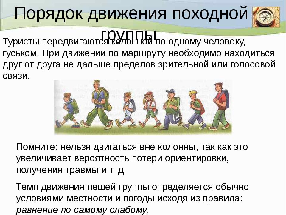 Порядок движения походной группы  Помните: нельзя двигаться вне колонны, так...