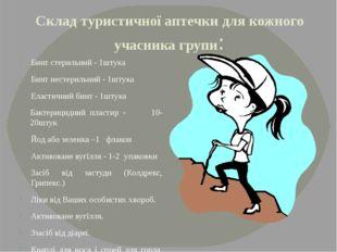Склад туристичної аптечки для кожного учасника групи: Бинт стерильний - 1штук