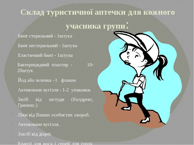 Склад туристичної аптечки для кожного учасника групи: Бинт стерильний - 1штук...