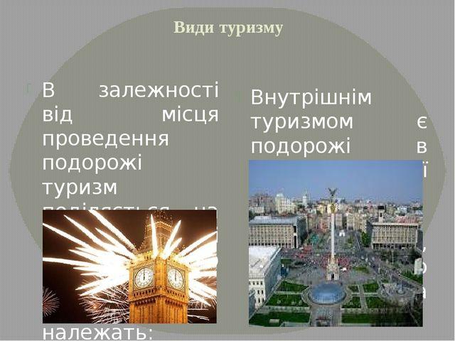 Види туризму В залежності від місця проведення подорожі туризм поділяється на...