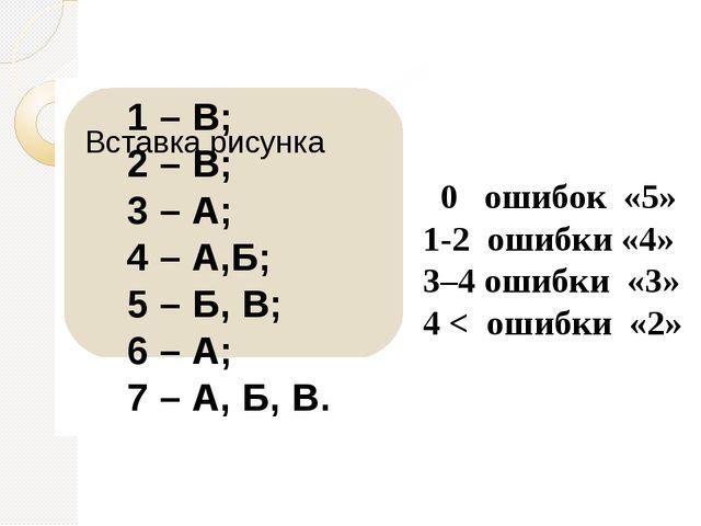 1 – В; 2 – В; 3 – А; 4 – А,Б; 5 – Б, В; 6 – А; 7 – А, Б, В. 0 ошибок «5» 1-2...