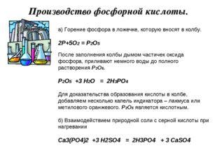 Производство фосфорной кислоты. а) Горение фосфора в ложечке, которую вносят