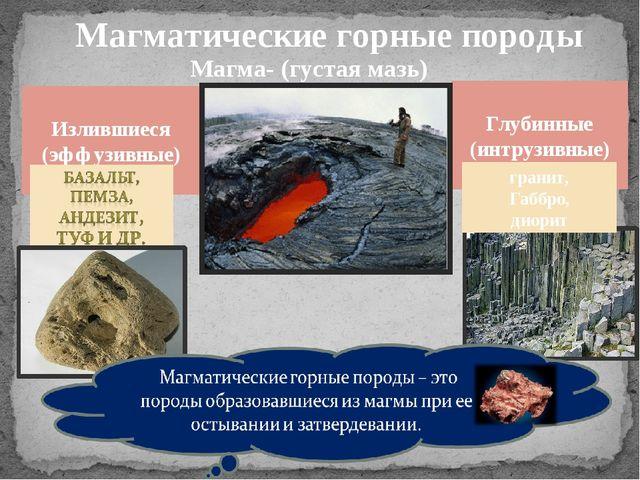 Магматические горные породы Магма- (густая мазь) Глубинные (интрузивные) Изли...