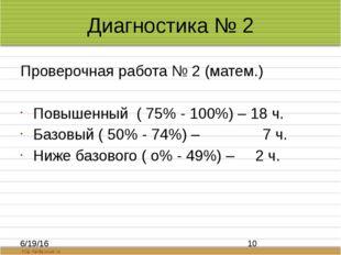 Диагностика № 2 Проверочная работа № 2 (матем.) Повышенный ( 75% - 100%) – 18