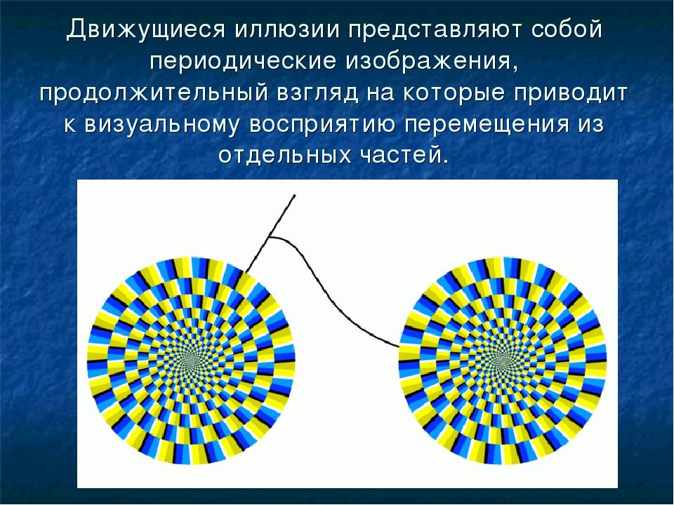 Движущиеся иллюзии представляют собой периодические изображения, продолжитель...