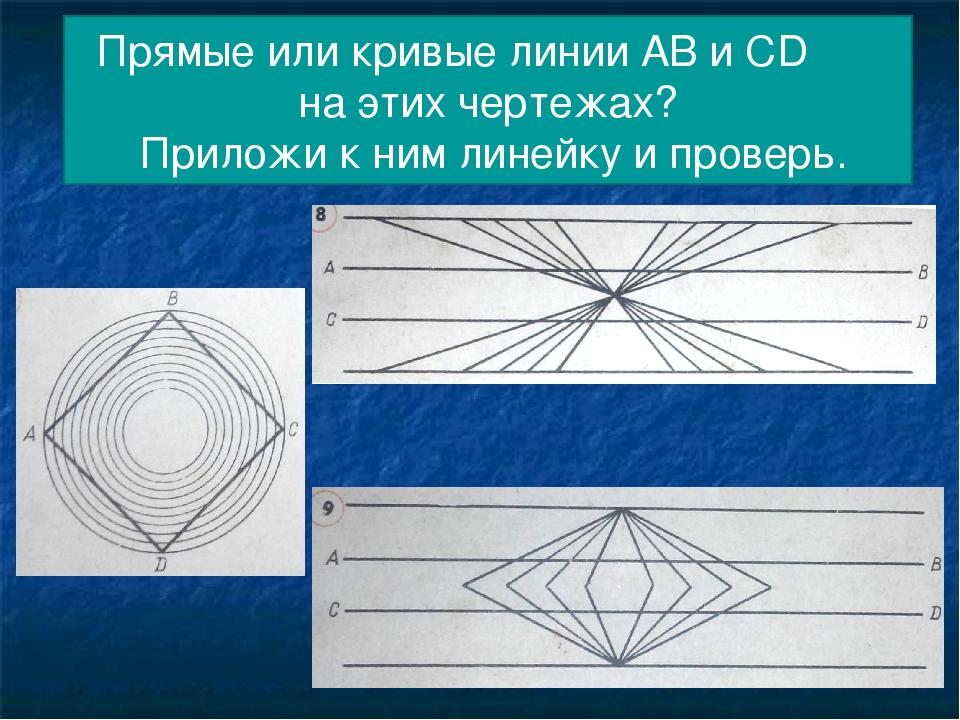 Прямые или кривые линии АВ и СD на этих чертежах? Приложи к ним линейку и про...