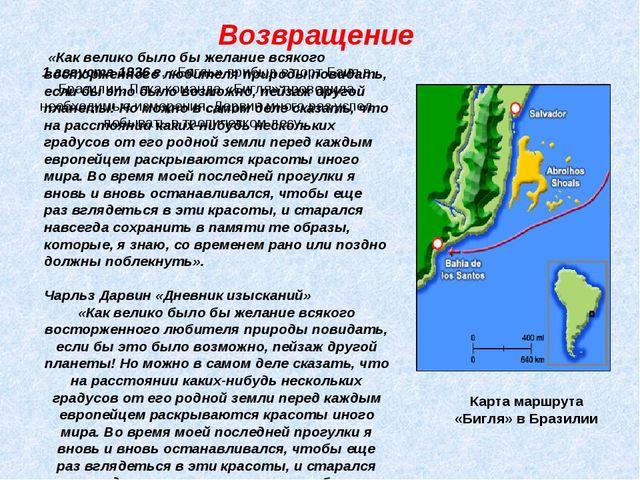 Возвращение Карта маршрута «Бигля» в Бразилии 1 августа 1836 г. «Бигль» прибы...