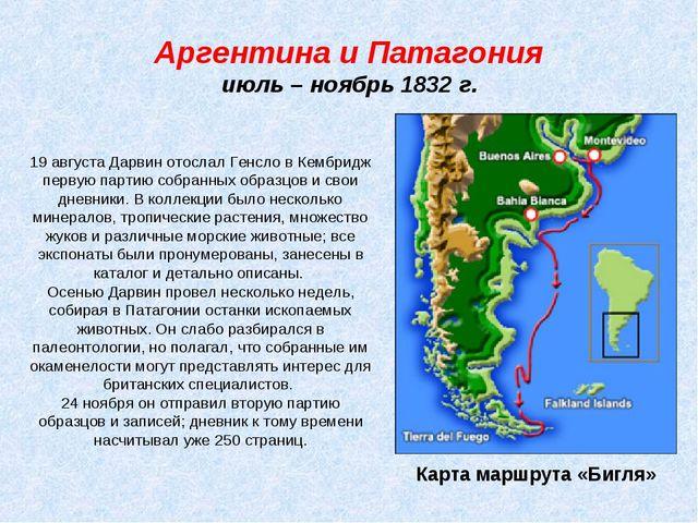 Аргентина и Патагония июль – ноябрь 1832 г. Карта маршрута «Бигля» 19 августа...