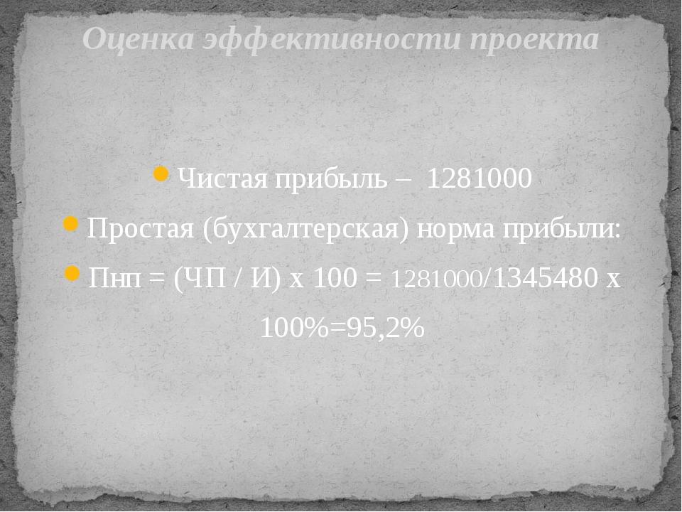 Оценка эффективности проекта Чистая прибыль – 1281000 Простая (бухгалтерская)...