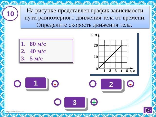 1 - + - 3 2 10 На рисунке представлен график зависимости пути равномерного дв...