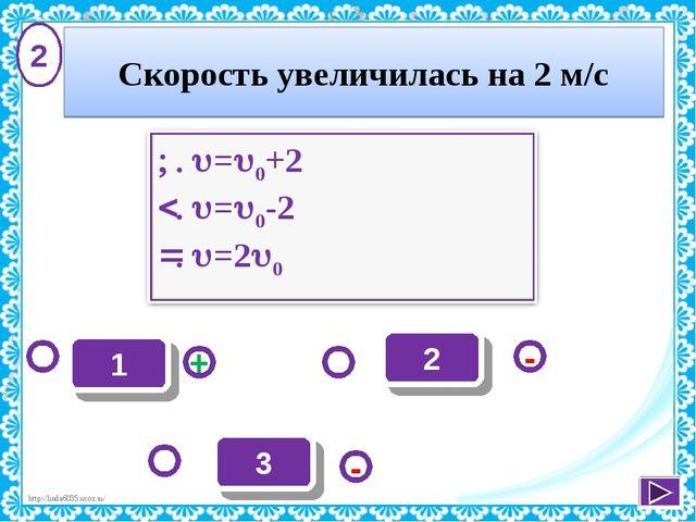 2 - + - 3 1 2 Скорость увеличилась на 2 м/с http://linda6035.ucoz.ru/