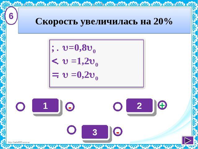 1 - + - 2 3 6 Скорость увеличилась на 20% http://linda6035.ucoz.ru/