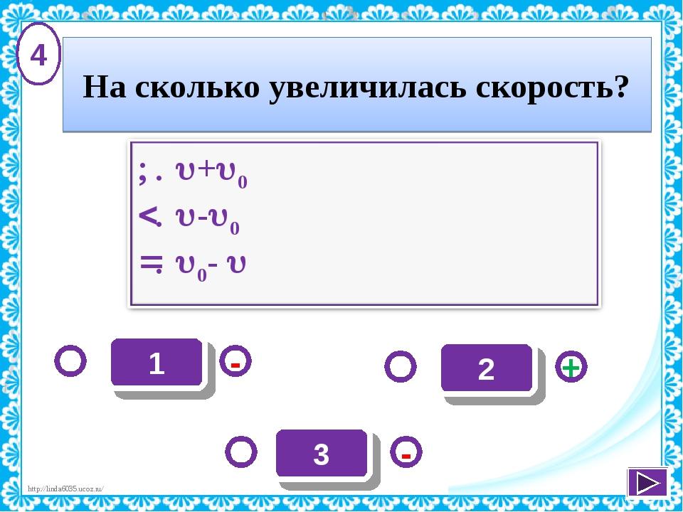 1 - + - 3 2 4 На сколько увеличилась скорость? http://linda6035.ucoz.ru/