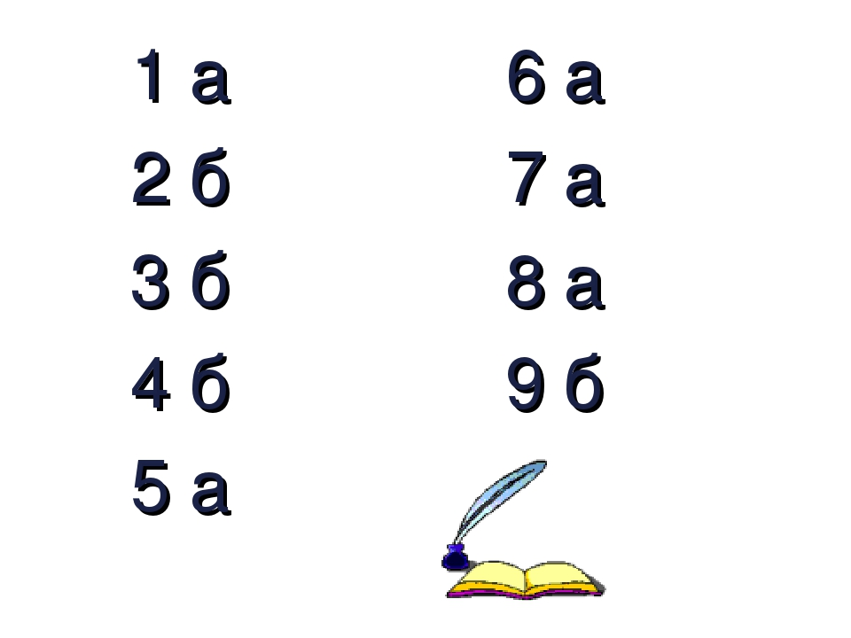 1 а 6 а 2 б 7 а 3 б 8 а 4 б 9 б 5 а