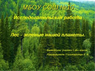 МБОУ СОШ №10 Исследовательская работа Лес - зеленые нашей планеты. Выполнили: