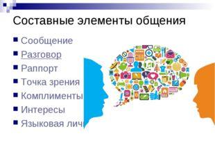 Составные элементы общения Сообщение Разговор Раппорт Точка зрения Комплимент