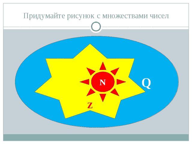 Придумайте рисунок с множествами чисел Q Z N