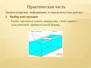 Практическая часть Проанализировав информацию, я определила план работы: 1. В