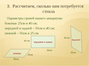 3. Рассчитаем, сколько нам потребуется стекла Параметры граней нашего аквариу