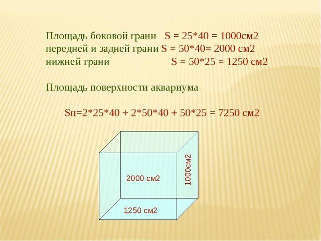 Площадь боковой грани S = 25*40 = 1000см2 передней и задней грани S = 50*40=...