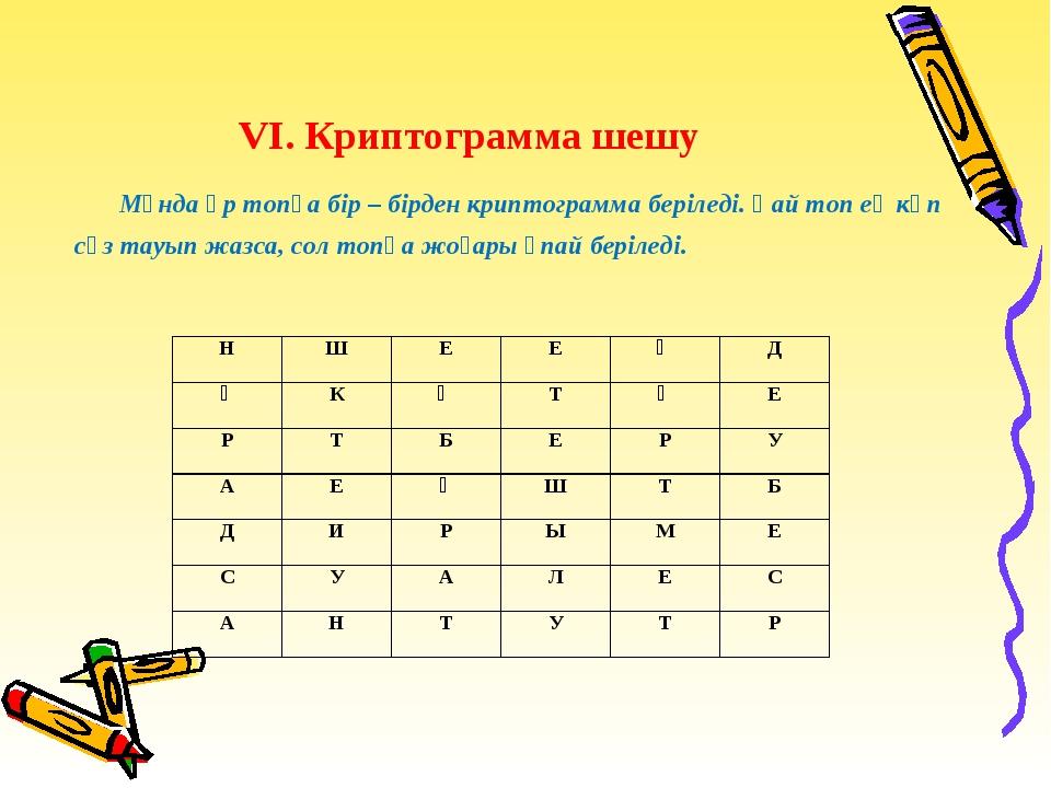 VІ. Криптограмма шешу Мұнда әр топқа бір – бірден криптограмма беріледі. Қай...