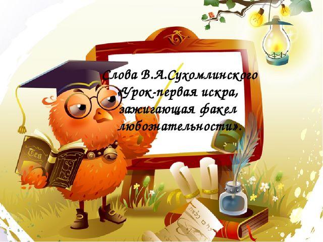 Слова В.А.Сухомлинского «Урок-первая искра, зажигающая факел любознательности».