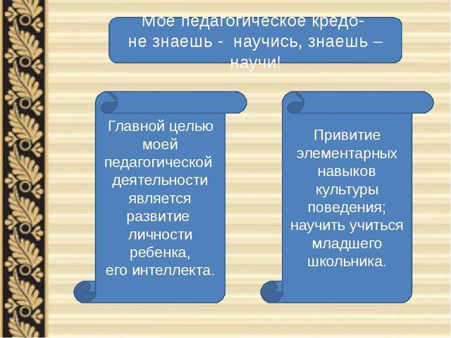 Главной целью моей педагогической деятельности является развитие личности реб...