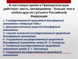 В настоящее время в Приморском крае действует шесть заповедников - больше чем