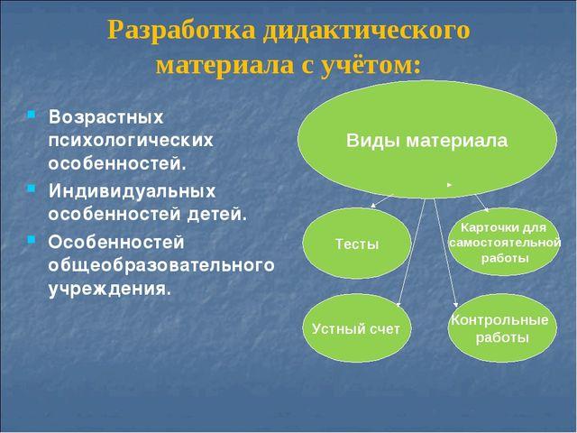 Разработка дидактического материала с учётом: Возрастных психологических особ...