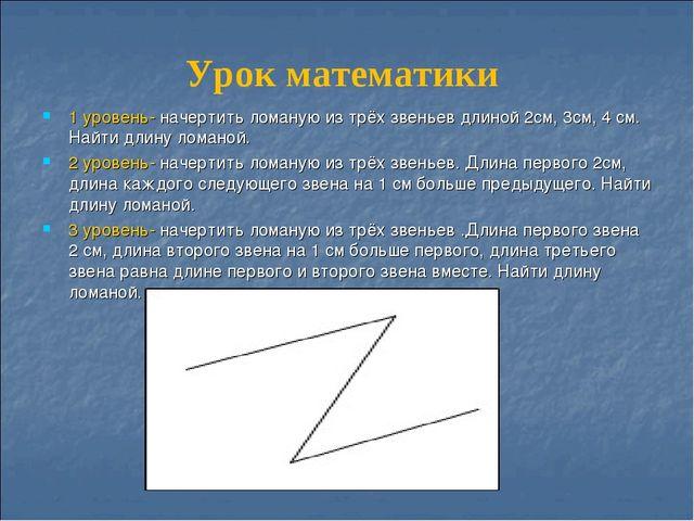 Урок математики 1 уровень- начертить ломаную из трёх звеньев длиной 2см, 3см,...