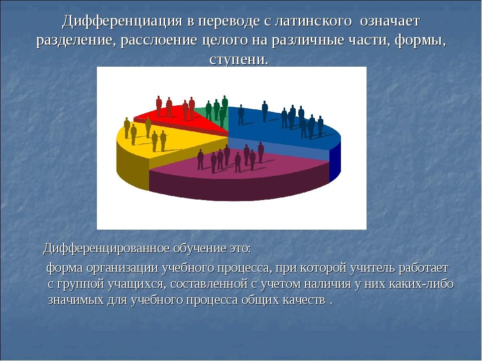 Дифференциация в переводе с латинского означает разделение, расслоение целого...