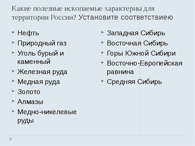 Какие полезные ископаемые характерны для территории России? Установите соотве...