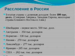 Расслоение в России Богатые страны с душевым доходом более 100 тыс. долл.. (С